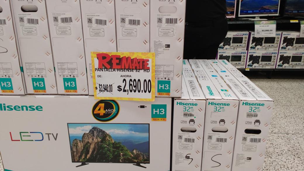 Bodega Aurrerá Villacoapa: pantalla Hisense 32 HD a $2,690