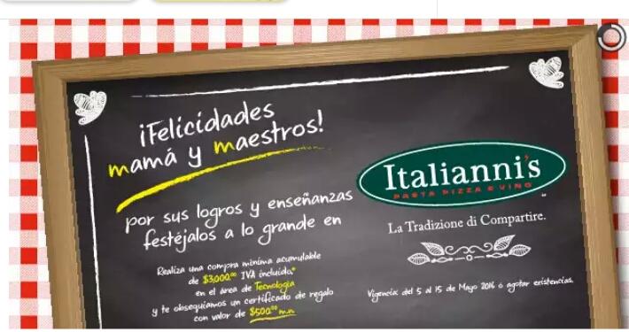 Lumen: certificado $500 para consumo en Italianis