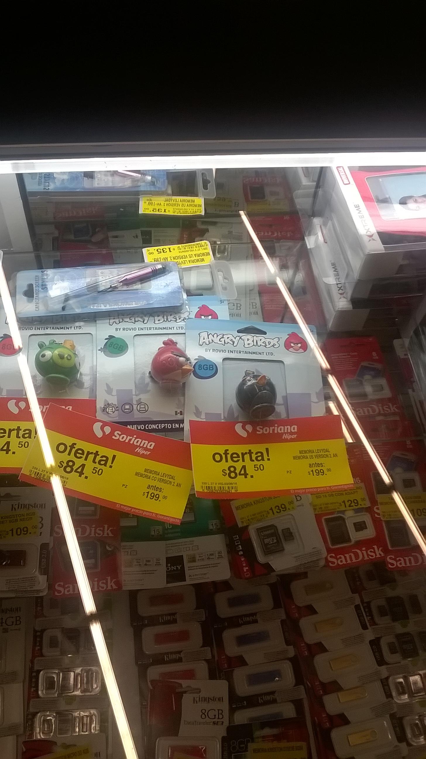Soriana: memoria USB Angry Birds 8Gb a $84.50