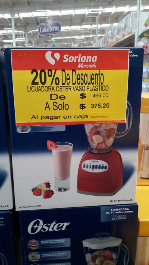 Soriana: Licuadora Oster vaso plástico a $375