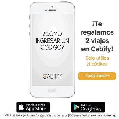Cabify: cupón 2 viajes gratis usuarios nuevos (MTY)