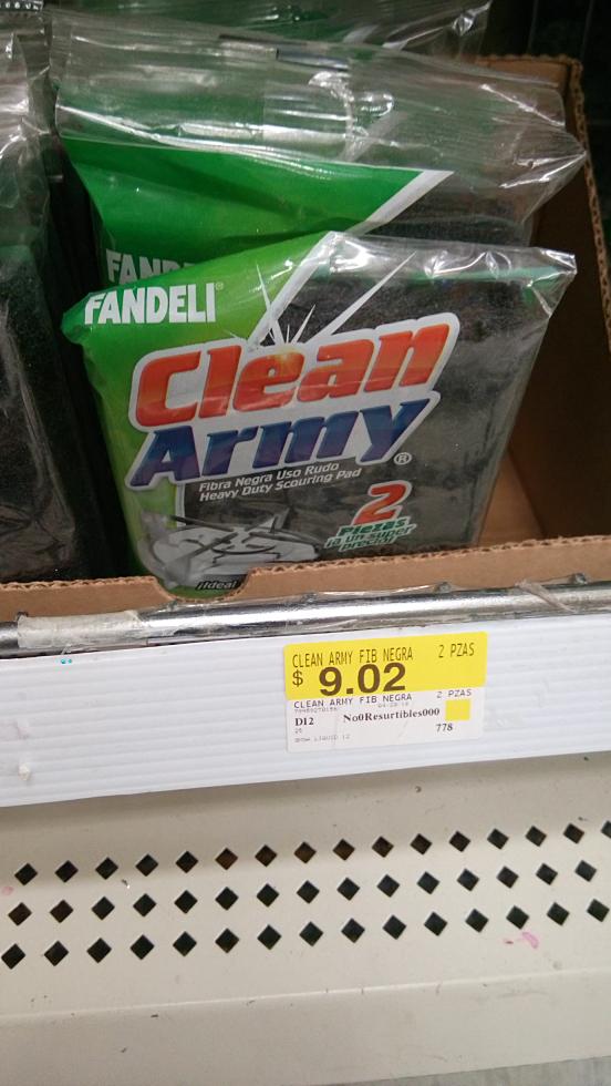Walmart Cd. Juárez: fibras Clean Army a $10.03 y $9.02