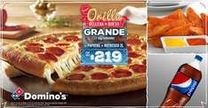 Domino's Pizza: Orilla Rellena de Queso+Papotas+Refresco