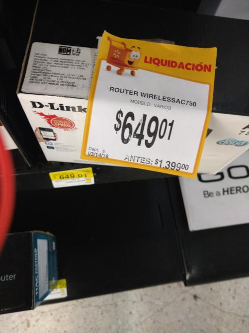 Walmart Toluca Terminal: router D-link a $649.01