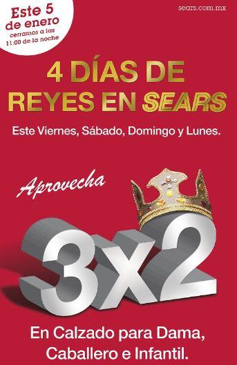 Venta Día de Reyes Sears: 3x2 en zapatos, 2x1 en películas, 20% extra en rebajas y +