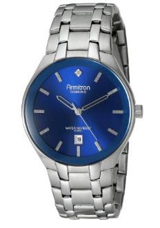 Amazon: Armitron Men's 20/4999BLSV con diamantes-acentuados función de fecha azul plateado con esfera-reloj brazalete en tono