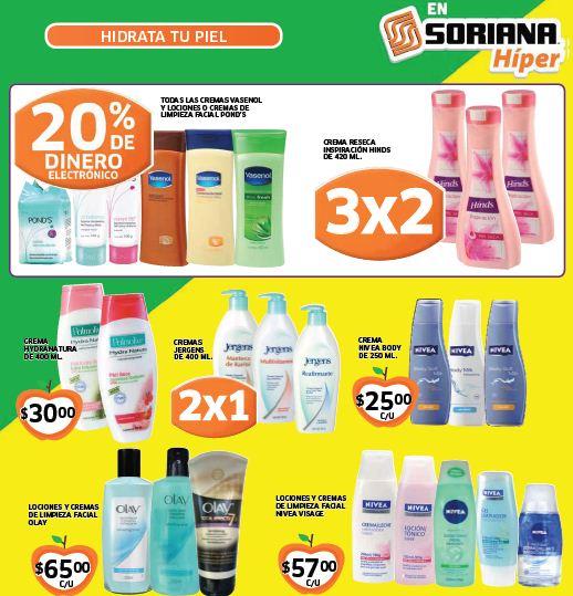 Folleto Soriana: 2x1 en crema Jergens, 3x2 en Pantene, 20% menos en Kotex y +