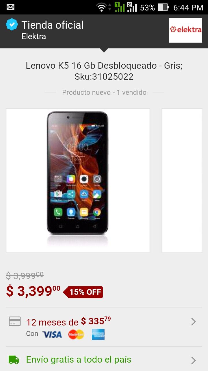 Elektra en Mercadolibre: Lenovo K5 16gb libre Gris a $3,399