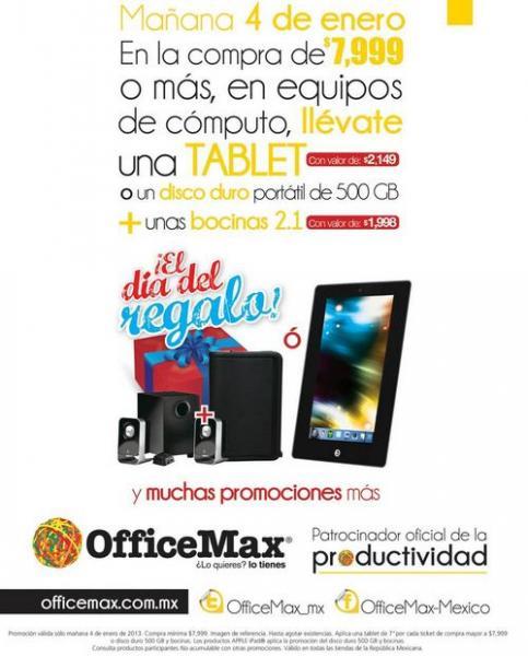 Día del Regalo OfficeMax: tablet o disco duro y bocinas gratis con compra mínima y más (actualizado)