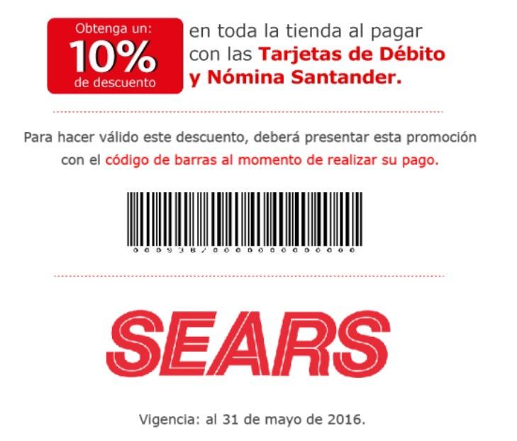 Sears: 10% de descuento en toda la tienda con tarjeta de débito Santander