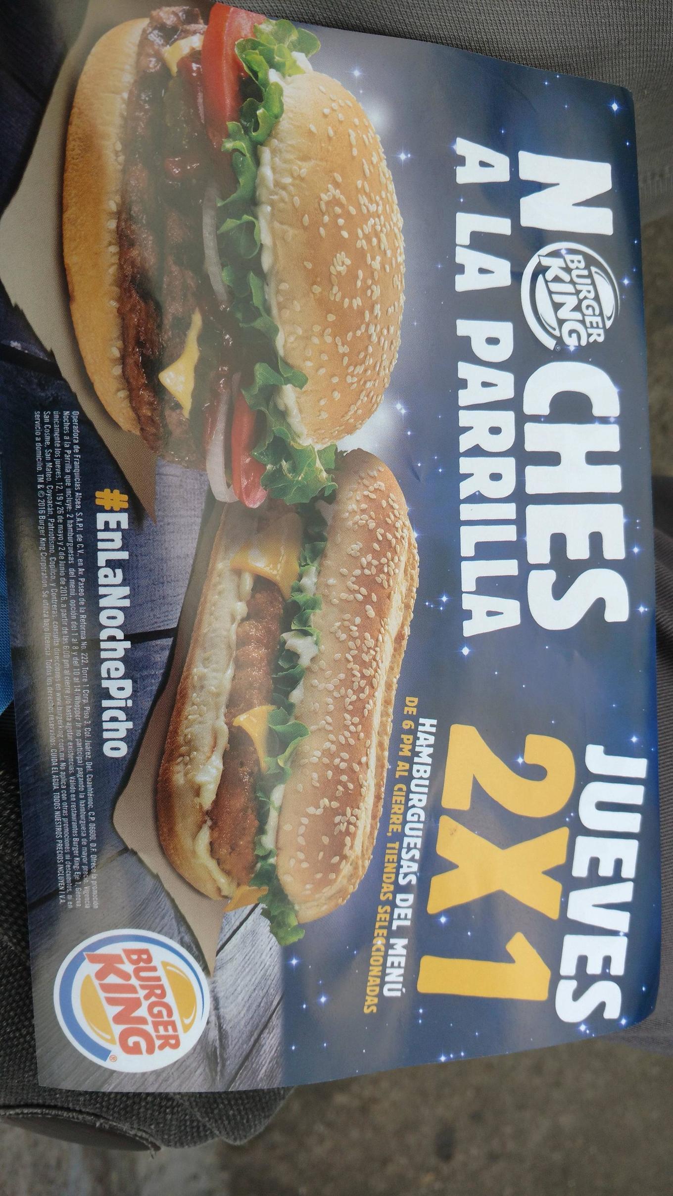Burger King: jueves de 2x1 en sucursales seleccionadas de CDMX