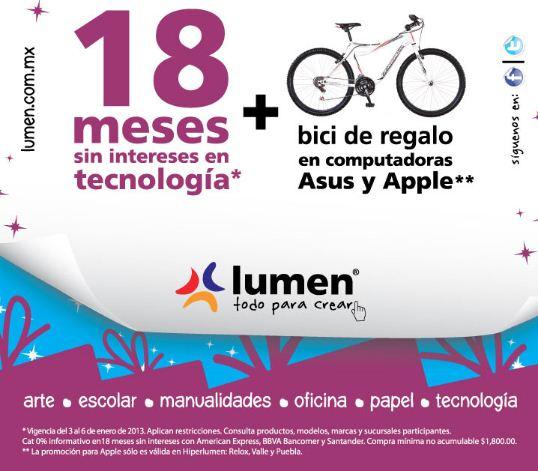 Lumen: bici de regalo al comprar una computadora Asus o Apple