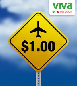 vuelos con VivaAerobus desde $1 + impuestos