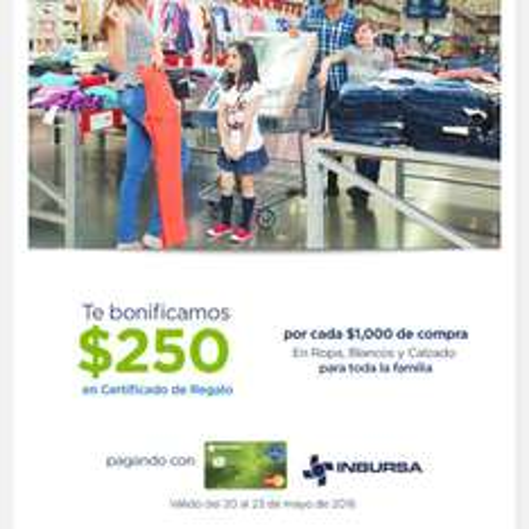 Sam's Club: $250 de bonificación por cada $1,000 en ropa, calzado y blanco pagando con tarjeta Sams-Inbursa