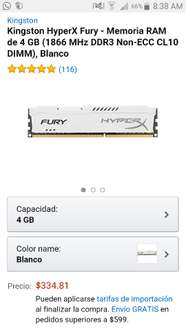 Amazon: Memoria Ram Kingston HyperX de 4Gb a 1866MHZ a $334