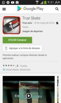 Google Play:True skate a $18