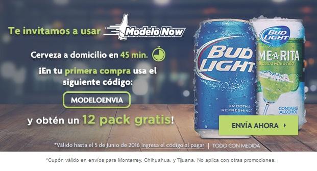 Modelo Now: 12 Pack cerveza gratis con cualquier compra (Tij, Mty y Chi)
