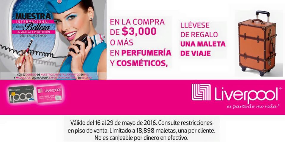 """Liverpool: maleta """"carry-on"""" gratis con compra mínima en perfumería y cosméticos"""