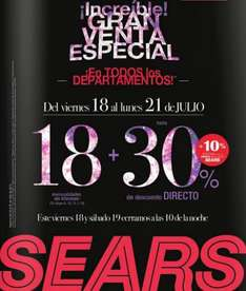 Venta Especial Sears este fin de semana