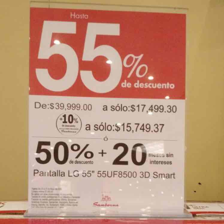 Sanborns en Internet y Cuernavaca Casa de Piedra: Pantalla LG 55'' modelo 55UF8500