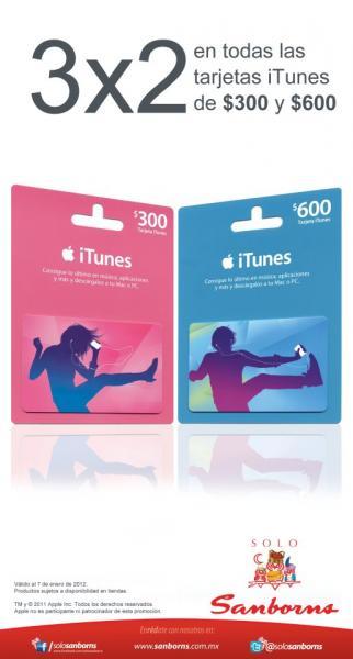 Sanborns: 3x2 en tarjetas iTunes
