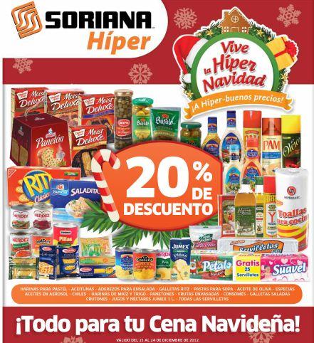 """Folleto Soriana: 20% de descuento en """"toda para cena navideña"""", 3x2 en vinos de mesa y +"""