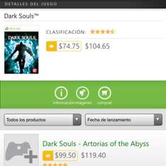 Xbox Marketplace: Dark Souls a $74.75