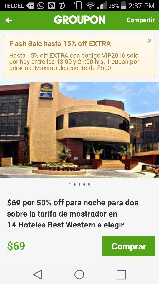 Groupon: Hotel Best Western: 69 pesos x cupón de 50% de descuento por noche (hasta 4 noches) en Hoteles Seleccionados