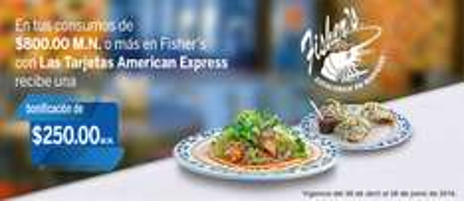 Fisher's: Bonificación de $250 en consumos mayores a $800 pagando con American Express