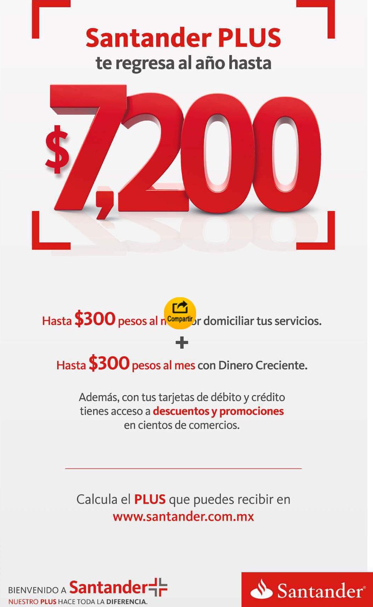 Santander Plus: hasta 20% de bonificación en restaurantes, 5% en servicios domiciliados y 3% en depósitos por tener o portar nómina