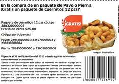 Soriana: 12 cuernitos de regalo comprando pavo o pierna con cupón