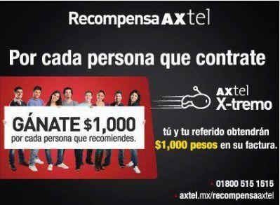 Axtel: $1,000 en tu factura por cada persona recomendada. También $1,000 para el recomendado.