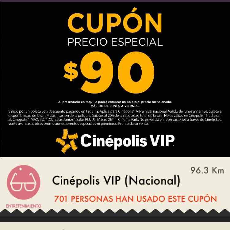 Cinépolis VIP oferta nacional: cupón para boleto a $90