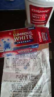 Soriana: pasta dental Luminos White Instant 22ml a $7 y enjuague bucal de 60ml a $5.80