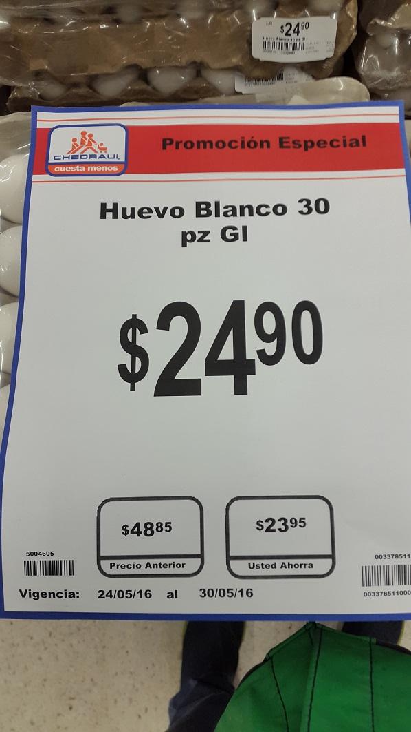 Chedraui Coapa: Cartera 30 huevos a $24.90