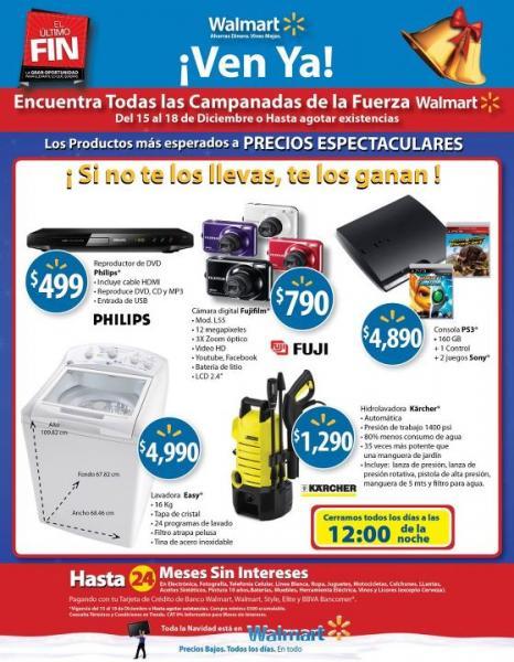Folleto Walmart: Bacardí 980ml + 375 ml $129, yoghurt Danone 1L $17.90 y +