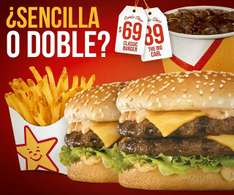 Carl's Jr: Combo Clásico $69 (doble $89) °Incluyen papas y refresco°