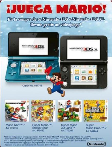 Sam's Club: gratis juego de Mario a elegir comprando Nintendo 3DS