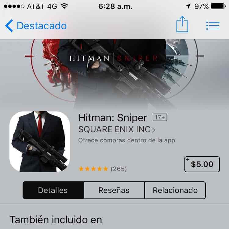 App Store: Hitman Sniper a $5 (iOS)