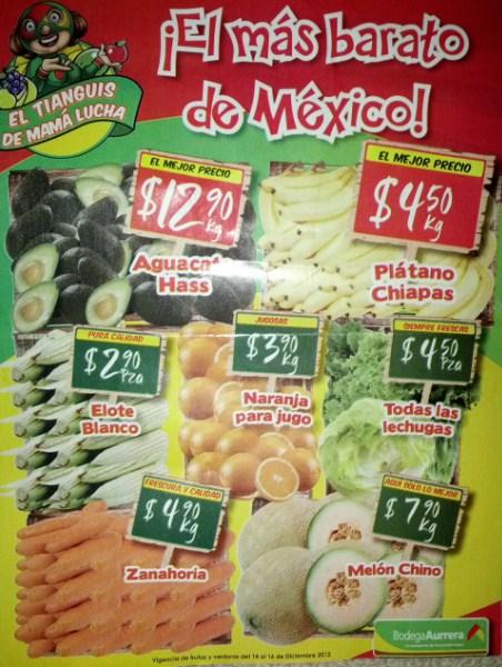 Tianguis de Mamá Lucha diciembre 14: aguacate $12.90, plátano $4.50 y más