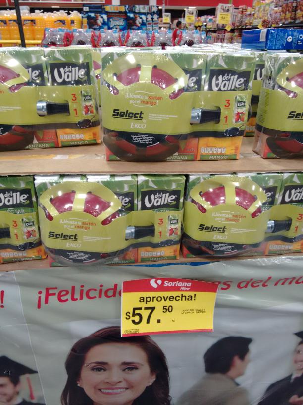 Soriana: Llévate 3 jugos del valle 1L con una sartén gratis por $57.50