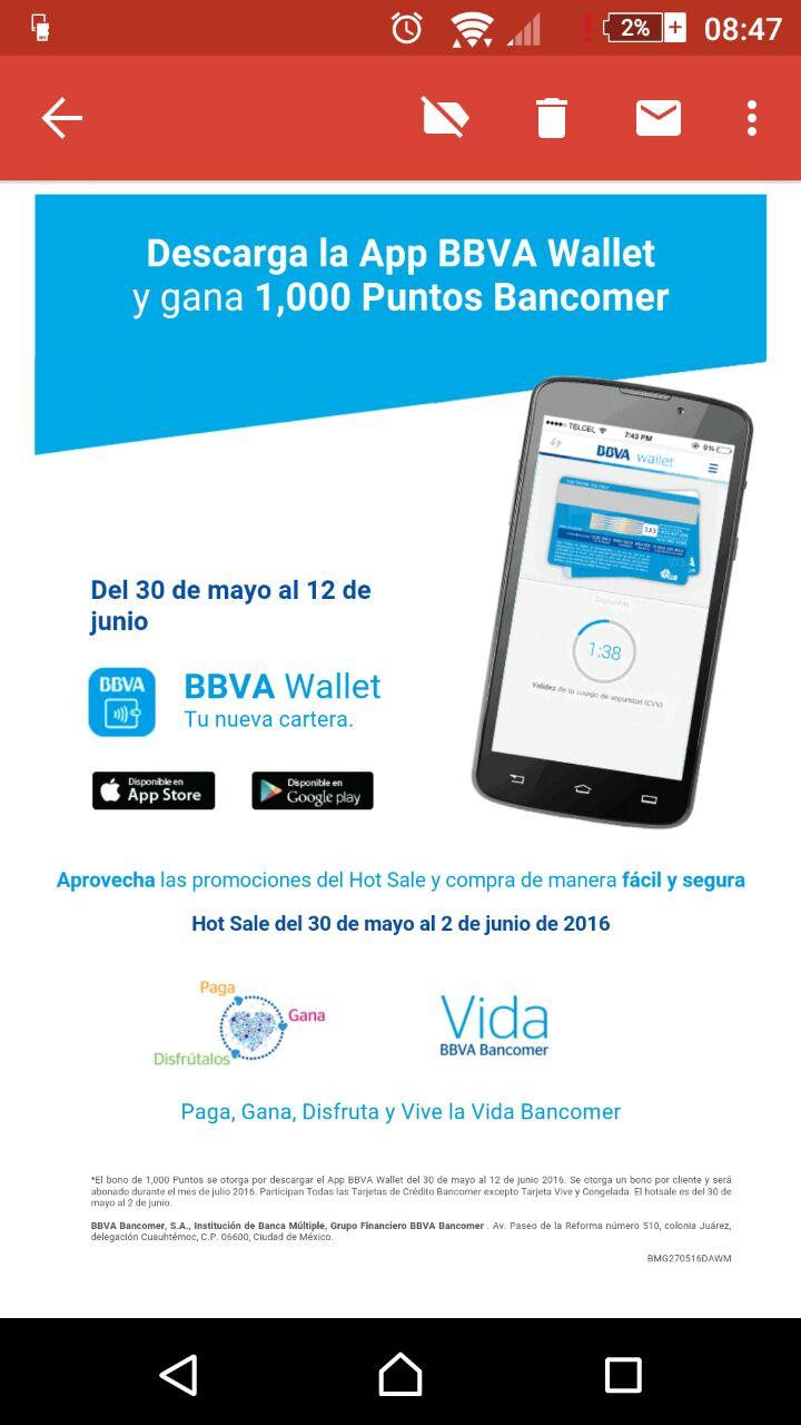 Bancomer: 1000 puntos GRATIS, por bajar app BBVA Wallet.