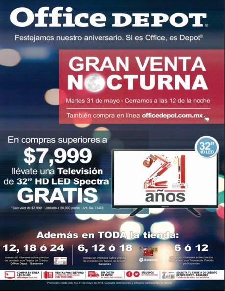 """Venta Nocturna de Aniversario Office Depot mayo 31: TV de 32"""" gratis con compra mínima y más"""