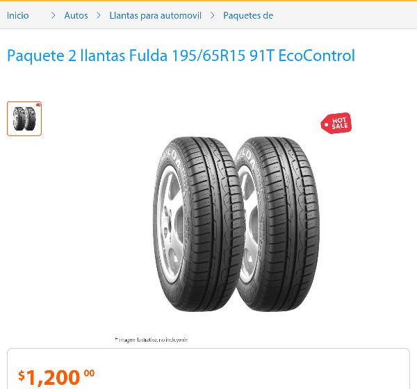 Promoción del Hot Sale en Walmart: Dos llantas fulda 195/65R15 - 91T a $1,200