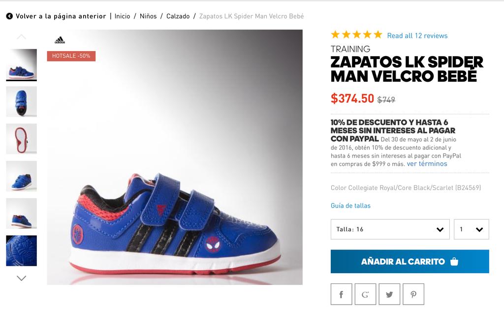 Ofertas Hot Sale Adidas en línea: Tenis LK Spiderman para bebé 50% de descuento