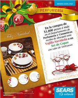 Sears: vajilla navideña o set de copas gratis con compra en perfumería y cosméticos