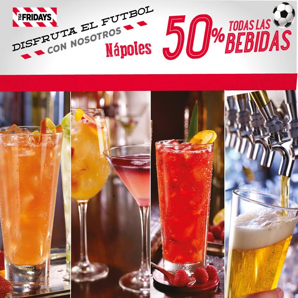 TGI Frday's  Nápoles (DF): 50% de descuento en bebidas en partidos de Eurocopa y Copa América