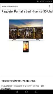 Oferta del Hot Sale en Sears: Paquete: Pantalla Led Hisense 50 Uhd Smart 50H7Gb + Celular E51a $9,899