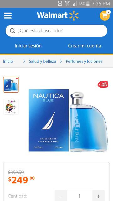 Oferta del Hot Sale en Walmart: Loción Nautica Blue Caballero 100 ml a $249