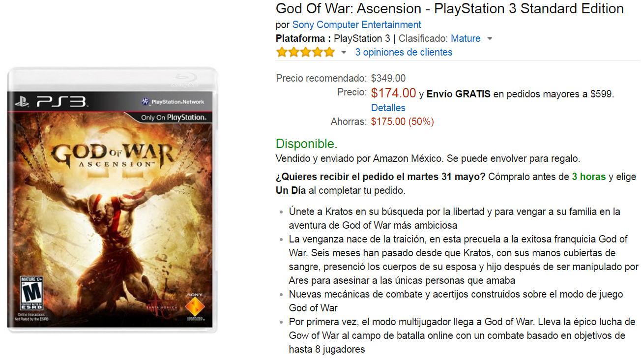 Oferta del Hot Sale en Amazon: God of War Ascension para PS3 a $174